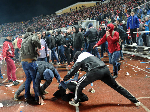 Russian soccer fans fought during the game between Shinnik Yaroslavl and Spartak Moscow in Yaroslavl on Oct. 30.