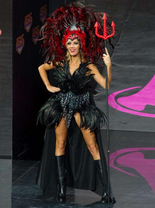 Noémie Happart of Belgium can use this outfit again when she plays the devil in <em>Sexy Faust</em>.