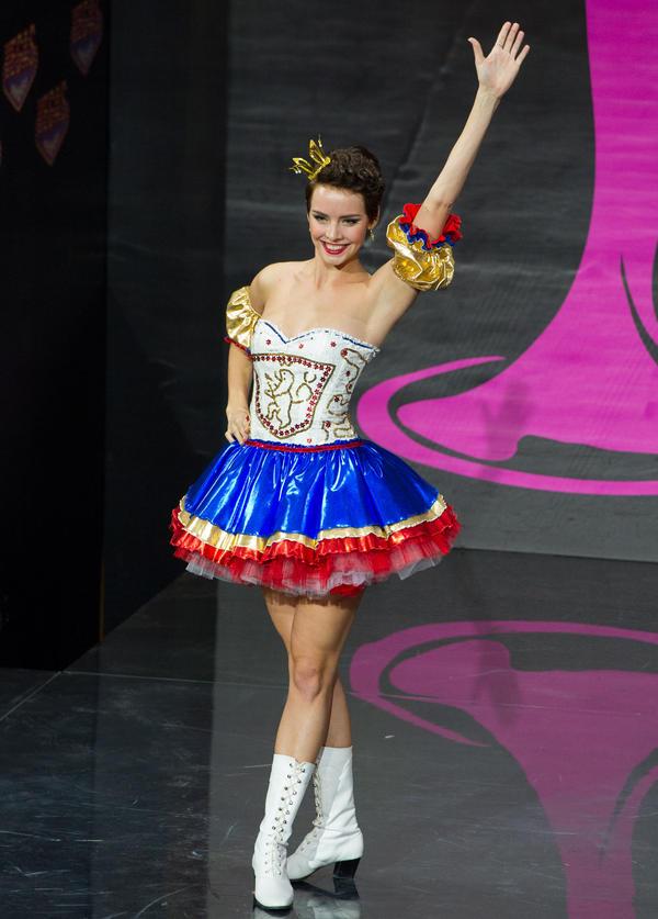 I am not kidding when I say I'm pretty sure Sandra Bullock wore this in <em>Miss Congeniality</em>. (Miss Czech Republic: Gabriela Kratochvílova)
