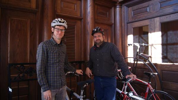 Rhode Island Public Radio staffers Aaron Read and James Baumgartner bike to work, even in the harsh New England winters.