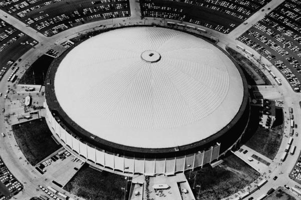 "View of the Astrodome from above in 1968. Earlier this year, <em>The New York Times</em> wrote that the Astrodome ""gave us domed, all-purpose stadiums and artificial turf and expansive scoreboards."" The dome went on to host a variety of sports events, large concerts and a political convention."