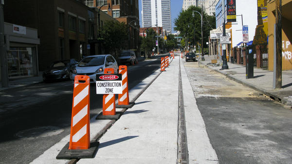 Construction of the Atlanta streetcar line has hurt many businesses along the route, but there is hope that economic gains will increase once the line opens next spring.