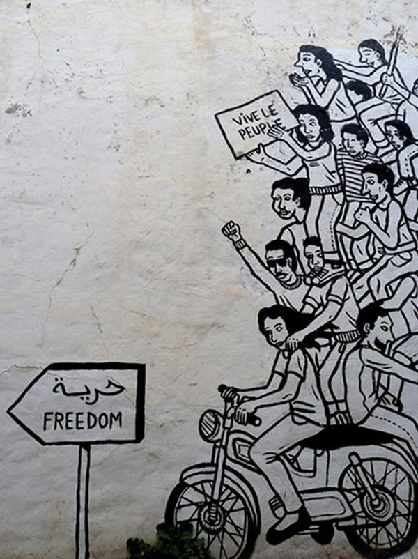 """Freedom Tunis"" mural by the Zoo Project in Tunis, Tunisia."