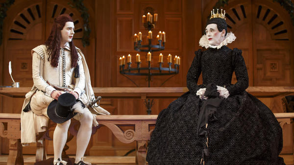 Mark Rylance as Olivia (right) and Samuel Barnett as Viola in <em>Twelfth Night</em>. The Broadway production, which first played at London's Globe Theatre, is done in the Elizabethan tradition, with an all-male cast.