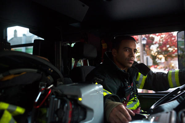 Probationary firefighter and veteran Victor Ramos practices driving the fire truck at the 16th Street Firehouse of the North Hudson Regional Fire and Rescue in Union City, N.J.