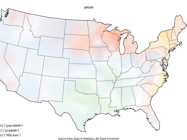 Where In the U.S. do people say pee-kahn over pi-kahn? Joshua Katz answered your burning question by mapping Bert Vaux's dialect survey on regional variations in the continental United States.