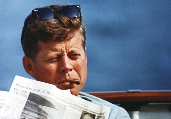 "President John F. Kennedy aboard the ""Honey Fitz"" off Hyannis Port, Mass., on Aug. 31, 1963."