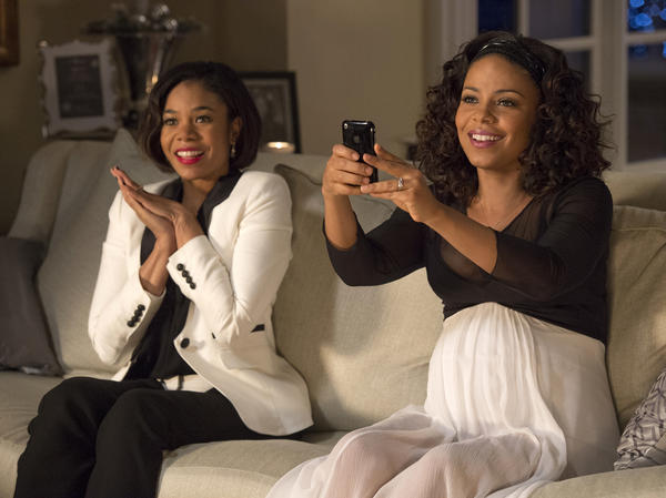 Regina Hall (left) and Sanaa Lathan (right) in <em>The Best Man Holiday.</em>