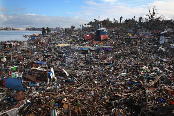 A tanker sits amongst debris on Sunday in Leyte, Philippines.