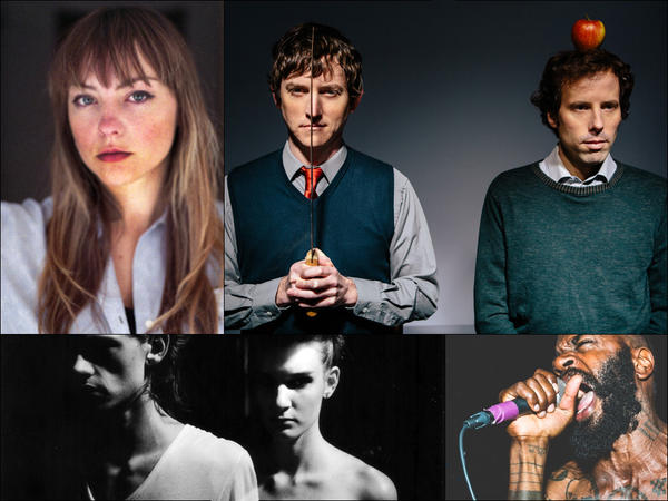 Clockwise from upper left: Angel Olsen, Ages And Ages, Death Grips, GEMS.