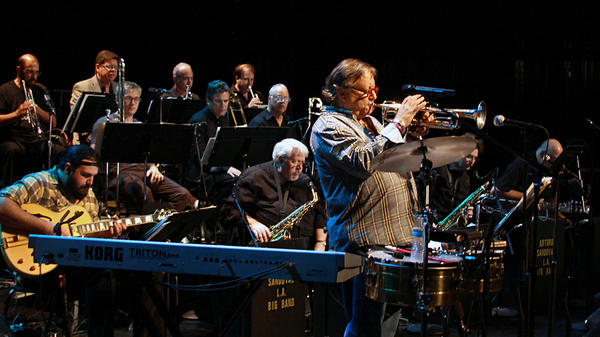 Arturo Sandoval rehearsing before his sold-out performance at The Broad Stage in Santa Monica, Calif.
