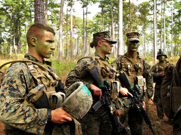 Pfc. Katie Gorz (center) served as a squad leader during the training at Camp Geiger, N.C.