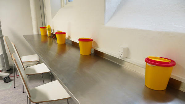 Inside the drug consumption room in Aarhus, Denmark's second-largest city.