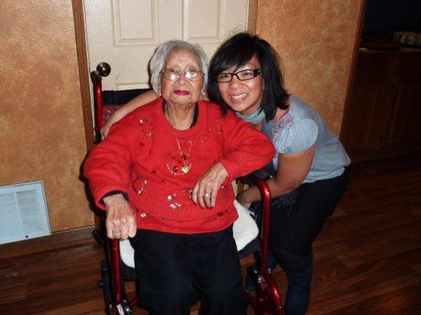 Melanie Vanderlipe Ramil with her grandmother, who taught her to make the Filipino dish lumpia, in 2009.
