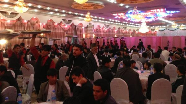 Afghans hold large, expensive weddings, even those involving families of modest means. More than 600 people attended this recent marriage at a large wedding hall in Kabul.