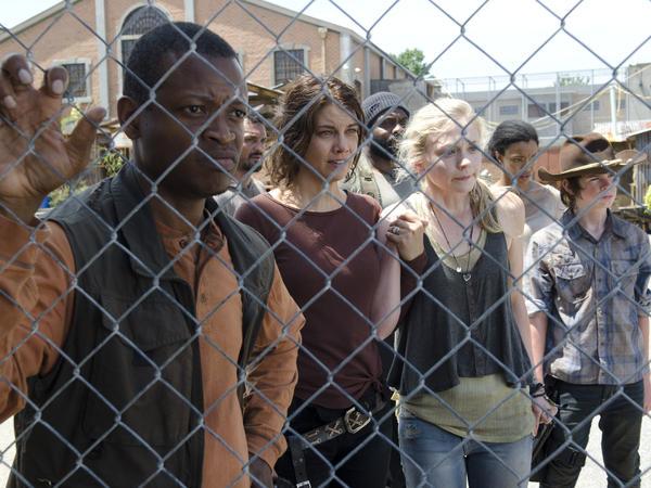 Bob Stookey (Larry Gilliard Jr.), Maggie Greene (Lauren Cohan), Tyreese (Chad Coleman), Beth Greene (Emily Kinney), Sasha (Sonequa Martin-Green) and Carl Grimes (Chandler Riggs) on AMC's <em>The Walking Dead</em>.