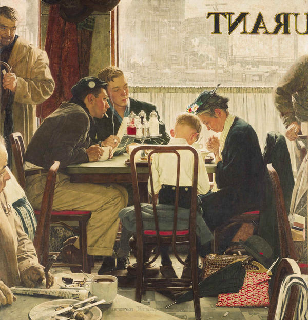 Norman Rockwell's 1951 painting <em>Saying Grace</em> sold for $46 million Wednesday — a record for the artist.