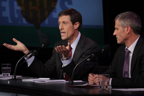 """Dr. Neal Barnard and Gene Baur argue in favor of the motion """"Don't Eat Anything With A Face."""""""