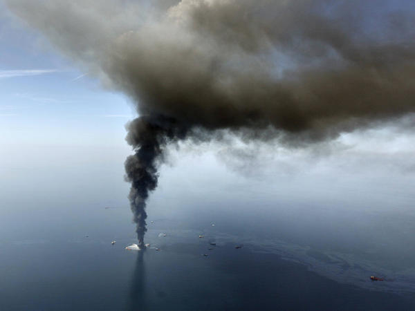 The Deepwater Horizon oil rig burns in the Gulf of Mexico in April 2010.