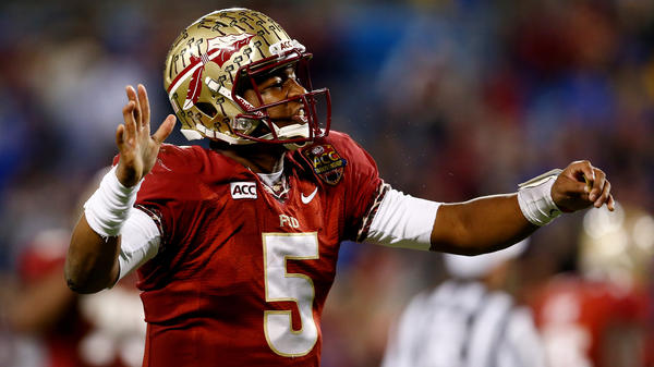 Florida State quarterback Jameis Winston reacts during the ACC Championship game on Saturday at Bank of America Stadium in Charlotte, N.C.