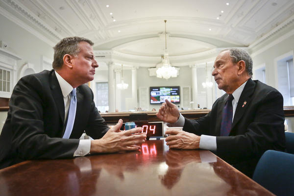 "New York City Mayor-elect Bill de Blasio (left) joins Bloomberg for a meeting in the ""Bull Pen,"" the mayor's main City Hall office, on Nov. 6."