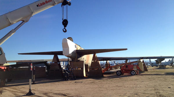 A view of a B-52 about to have its tail section cut at Davis-Monthan Air Force Base in Tucson, Ariz.