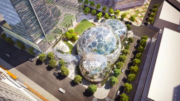 Amazon's 3.3 million-square-foot design includes three high-rise office towers and a public dog park.