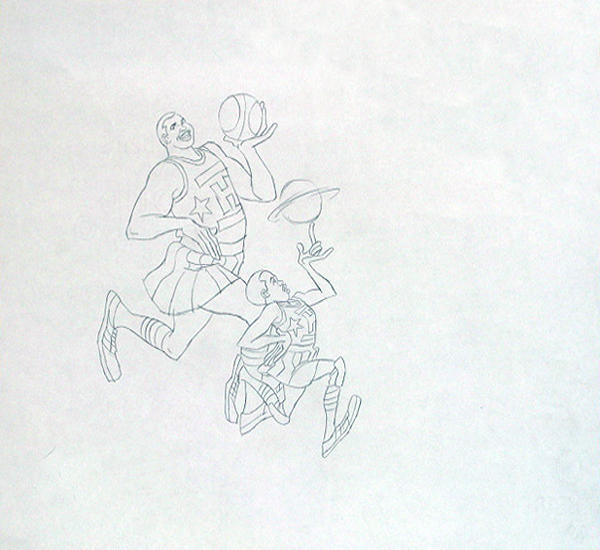 An original production drawing for <em>Harlem Globetrotters,</em> which aired from 1970 to 1973.