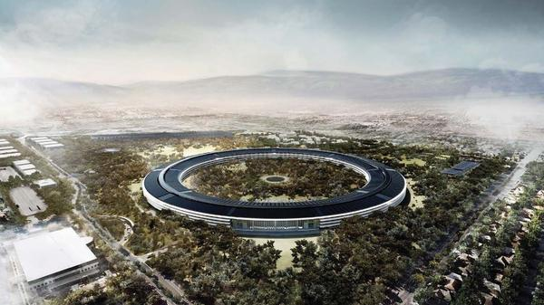 """Architect's rendering of Apple's new facility in Cupertino, Calif. """"It looks a little like a spaceship landed, but there it is,"""" the late Apple CEO Steve Jobs said in 2011, when he unveiled the drawings."""