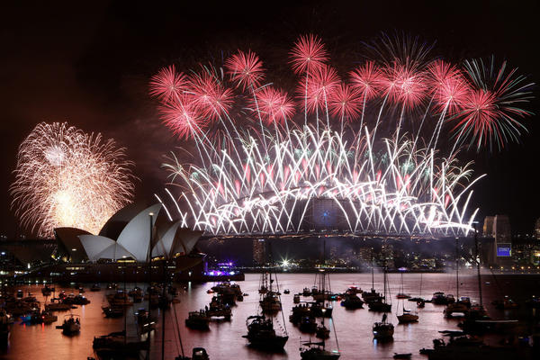 A view of the New Year's Eve fireworks display in Sydney Harbor in Sydney, Australia.