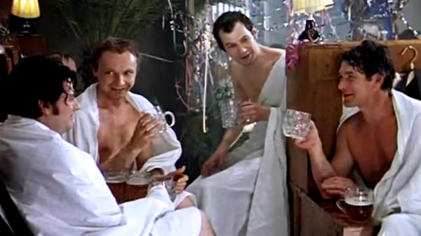 Zhenya drinks heavily with his friends at a Russian bathhouse in <em>The Irony of Fate,</em> a Soviet-era film that Russians still watch on New Year's Day.