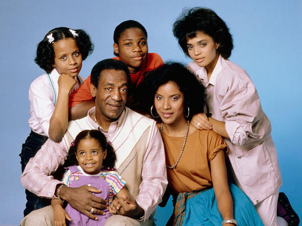 """<em>The Cosby Show </em>starred (clockwise from top left) Tempestt Bledsoe as Vanessa Huxtable, Malcolm-Jamal Warner as Theodore """"Theo"""" Huxtable, Lisa Bonet as Denise Huxtable, Phylicia Rashad as Clair Huxtable, Keshia Knight Pulliam as Rudy Huxtable, and Bill Cosby as Dr. Heathcliff """"Cliff"""" Huxtable."""