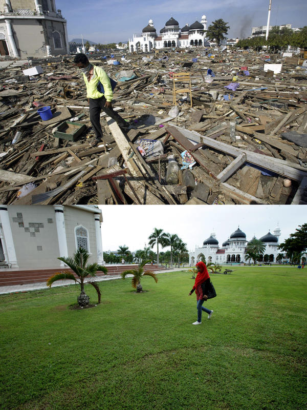 Banda Aceh, before and after: The top photo shows debris near the Great Mosque, background, on Dec. 29, 2004. The bottom photo shows the same area on Nov. 19, 2013.