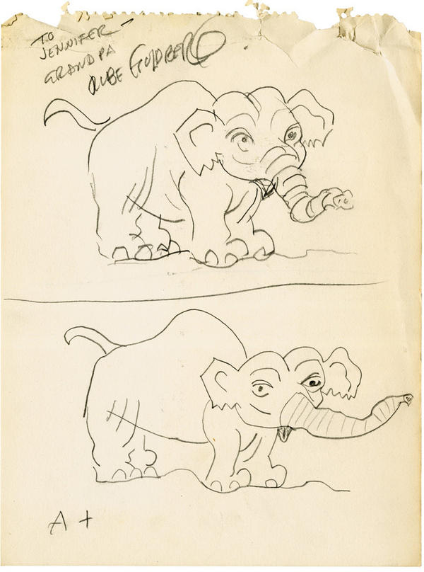 "Goldberg's elephant, top, and granddaughter Jennifer George's drawing below, from 1967. George says her grandfather swam with his shoes on and taught her how to shake hands. ""No limp fish!"" he told her. Even now, she says, she crushes people's hands when she meets them."