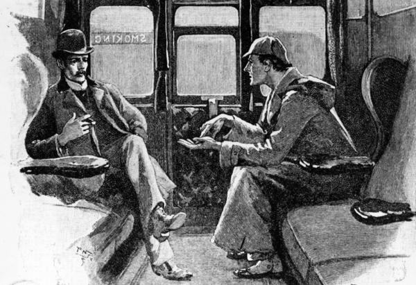 Detective Sherlock Holmes and Dr. John Watson travel by train in original artwork from <em>Strand</em> magazine. A federal judge in Chicago recently ruled that the characters in Arthur Conan Doyle's stories — excluding any elements introduced in the last 10 stories released in the U.S. after 1922 — now reside in the public domain.