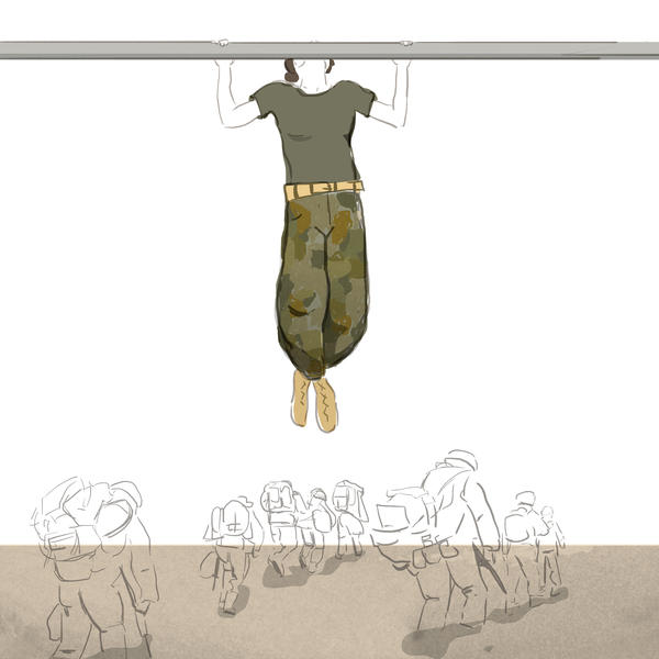 """Maria Fabrizio created this image on the morning of Dec. 27, after hearing <a href=""""http://www.npr.org/2013/12/27/257363943/marines-most-female-recruits-dont-meet-new-pullup-standard"""">Tom Bowman's <em>Morning Edition  </em>story</a> about how most female Marine Corps recruits aren't able to meet a new pullup standard."""
