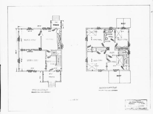 The floor plans of the first and second floors of a Sears kit house in Houghton County, Mich.