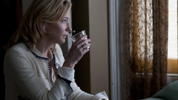 Cate Blanchett's title character looks for a little liquid courage in <em>Blue Jasmine. </em>The actress is nominated for a Golden Globe Award for her performance.