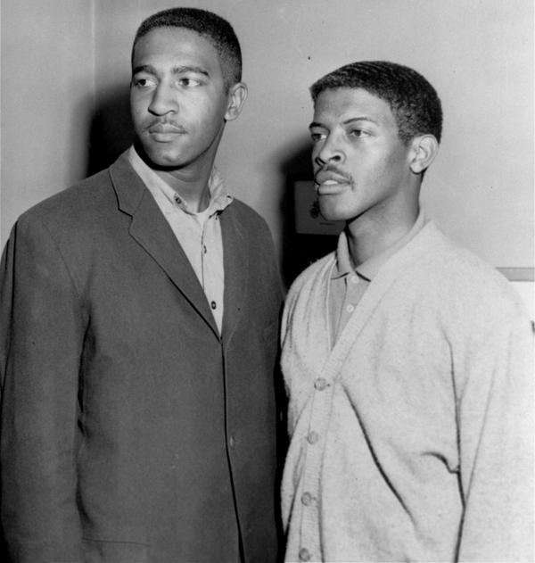 Franklin McCain (left) and David Richmond are shown in April 1960. They were two of the four Greensboro, N.C., college students who started demonstrations against segregated lunch counters in February 1960.