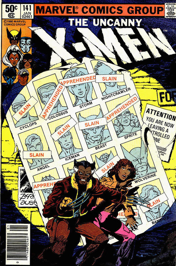 As part of Orion Martin's project, <em>X-Men of Color</em>, he reimagined this famous <em>X-Men</em> cover by recoloring two characters as brown. This cover comes from a storyline in which mutants are being rounded up and exterminated by the government.