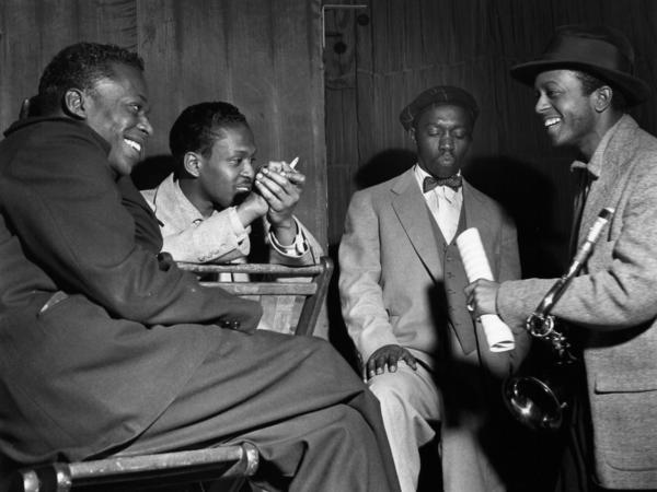 Jimmy Heath and friends at a session at New York's WOR Studios in 1953. Left to right: Miles Davis, Kenny Drew, Art Blakey, Jimmy Heath.