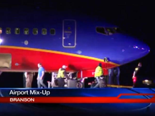 A frame grab provided by KSPR-TV shows Southwest Airlines Flight 4013 at Taney County Airport on Sunday.