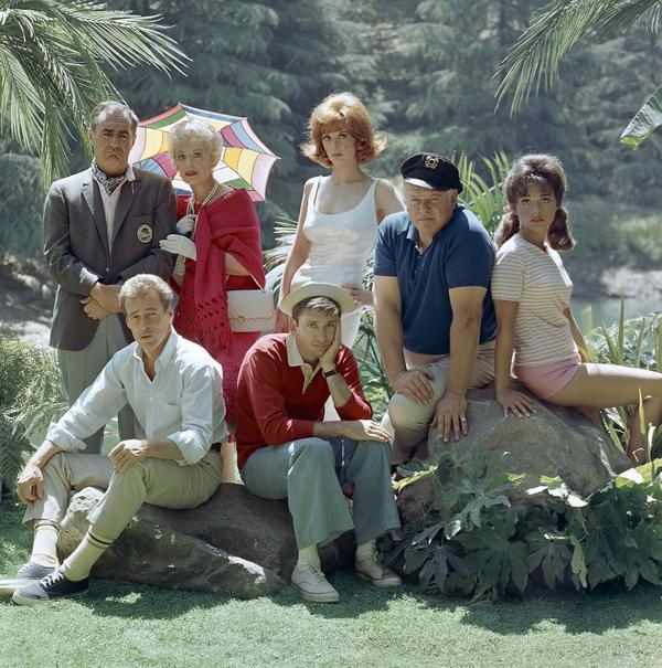 Actor Russell Johnson, the Professor on <em>Gilligan's Island,</em> has died at age 89. He's seen here at far left seated next to Bob Denver, along with fellow cast members from left, Jim Backus, Natalie Schafer, Tina Louise, Alan Hale Jr., and Dawn Wells.
