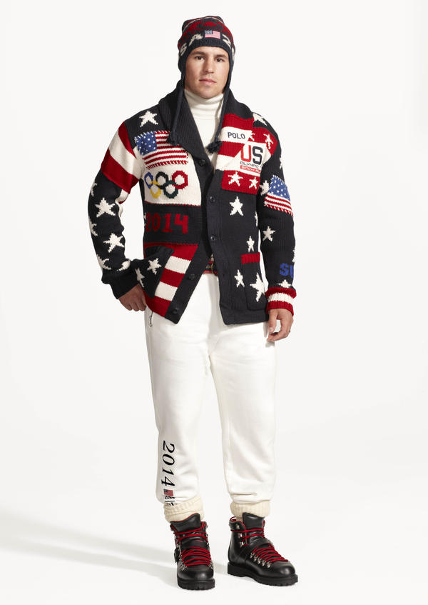 This image released by Ralph Lauren shows American hockey player Zach Parise wearing the official uniform that Team USA will wear during opening ceremonies for the 2014 Winter Olympics in Sochi, Russia.