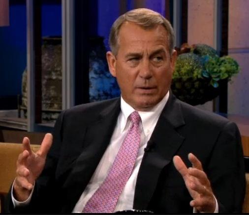 House Speaker John Boehner, R-Ohio, during his appearance on Thursday's <em>The Tonight Show with Jay Leno</em>.
