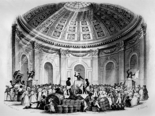 "Slave auction in New Orleans, 1842, ""Sale of Estates, Pictures and Slaves in the Rotunda, New Orleans."" The nation's most active slave market was in New Orleans. Slaves who had been ""sold down the river"" were auctioned off to plantation owners."