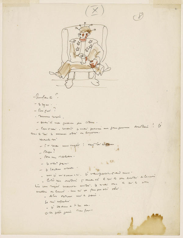 An early manuscript for <em>The Little Prince</em> by Antoine Saint-Exupery.