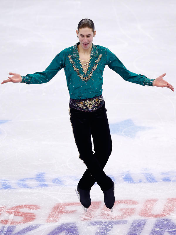 """Jason Brown skates during this year's U.S. Figure Skating Championships at TD Garden in Boston. After his free skate was watched more than 3 million times on YouTube, he said, """"I don't know how it happened. ... I'm so shocked, beyond shocked. It's so surreal to me."""""""