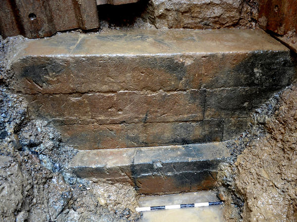 The foundation of the temple of Fortuna, which sits below the water line, was visible for only three days during the excavation.