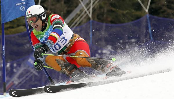 For the 2010 Vancouver Olympics, designer Alex Jorio made Hohenlohe a Mexican desperado suit.